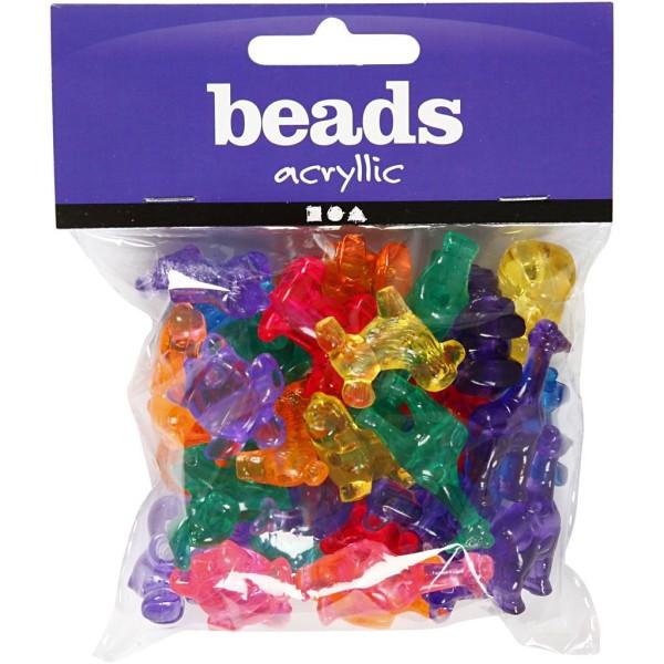 Assortiment de perles en plastique translucide multicolore - Animaux - 25 mm - Environ 40 pcs - Photo n°2