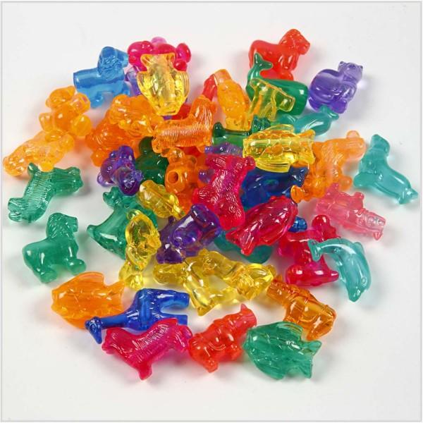 Assortiment de perles en plastique translucide multicolore - Animaux - 25 mm - Environ 40 pcs - Photo n°1