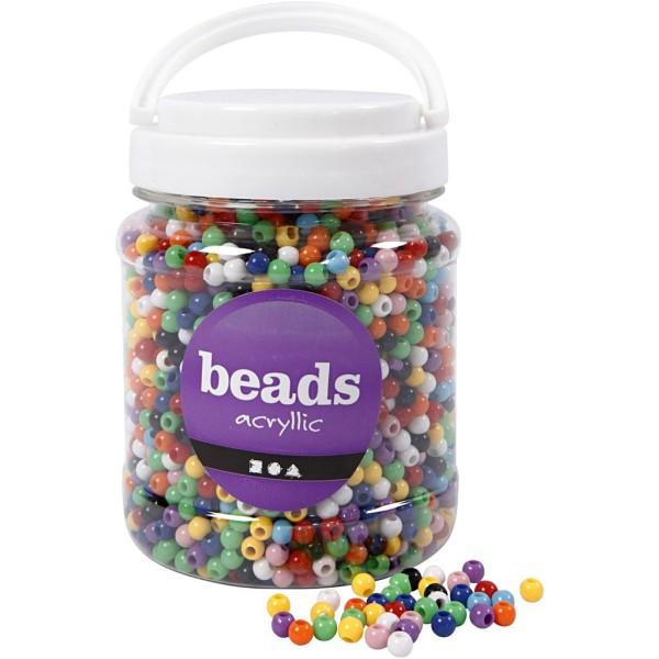 Perles pony 6 mm - Assortiment de couleurs - 3830 pcs environ - Photo n°1