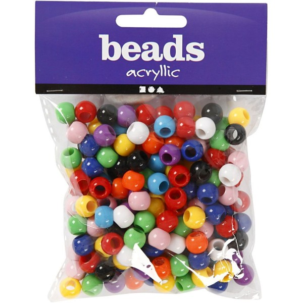 Assortiment perles pony multicolores - 10 mm - Environ 180 pcs - Photo n°2