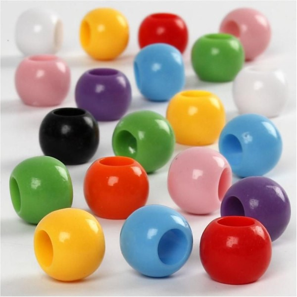 Assortiment perles pony multicolores - 10 mm - Environ 180 pcs - Photo n°1