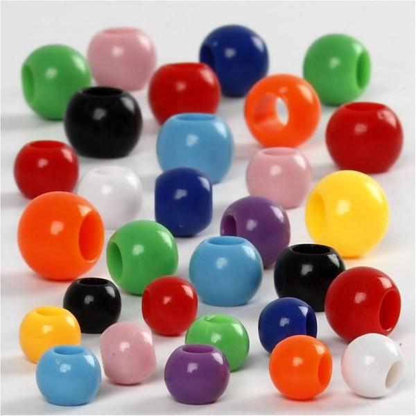 Assortiment perles pony multicolores - 6 à 10 mm - Environ 200 pcs - Photo n°1