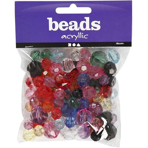 Perles à facettes transparentes - 10 à 16 mm - 75 g - Photo n°2