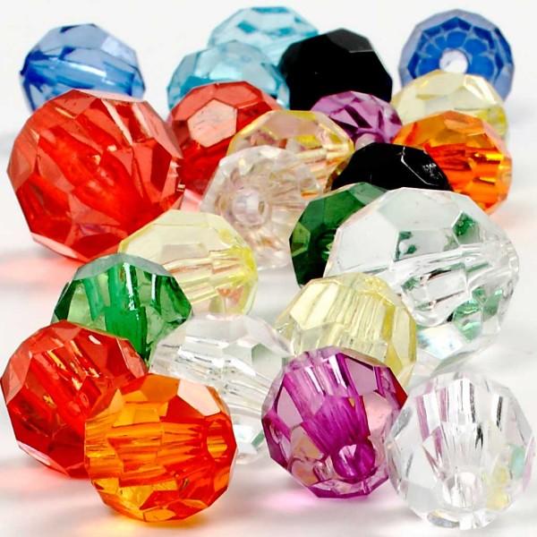 Perles à facettes transparentes - 10 à 16 mm - 75 g - Photo n°1