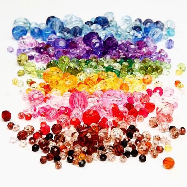Assortiment de perles à facettes - De 4 à 12 mm - 7 x 250 g - Photo n°1