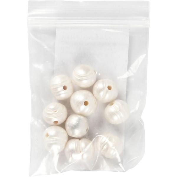 Perles d'eau douce nacrées - 9 à 11 mm - 10 pcs - Photo n°2
