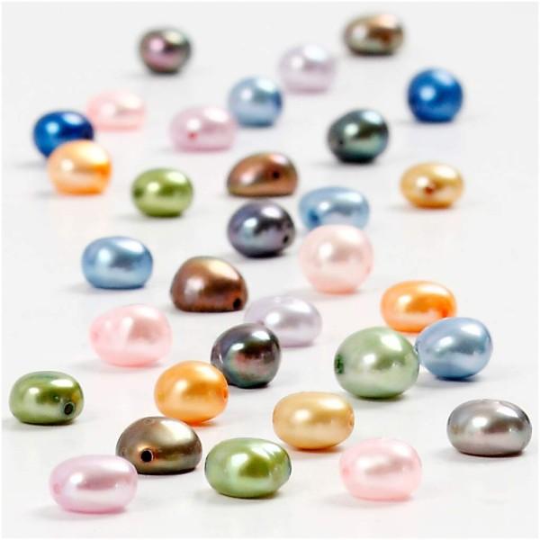 Perles nacrées d'eau douce - Multicolores - 5 à 6 mm - 40 pcs environ - Photo n°1