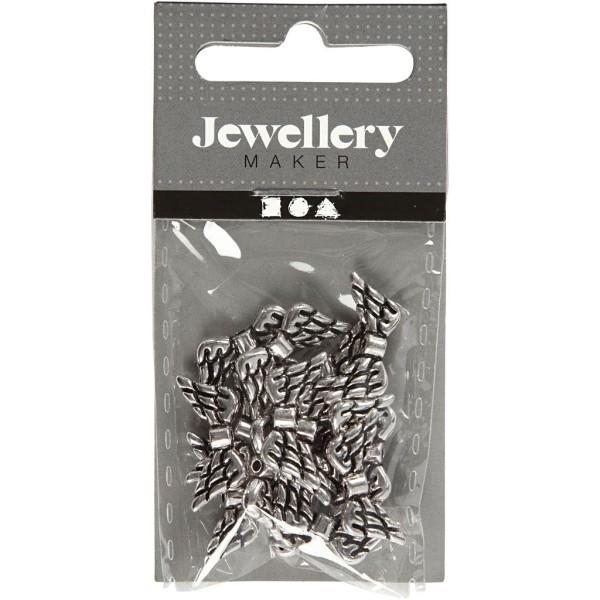 Perles ailes en métal argenté - 20 mm - 16 pcs - Photo n°2