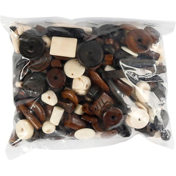 Assortiment de perles en os - 5 à 30 mm - 300 g - Photo n°2