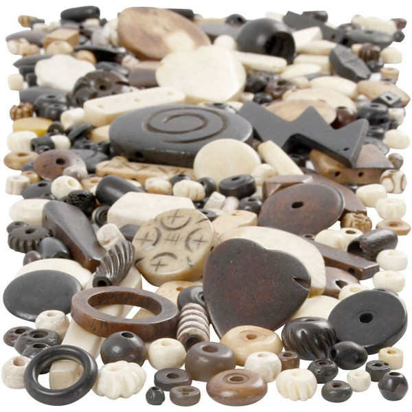 Assortiment de perles en os - 5 à 30 mm - 300 g - Photo n°1