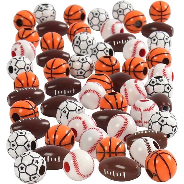Perles Ballons de sport - De 11 à 15 mm - Environ 220 pcs - Photo n°1