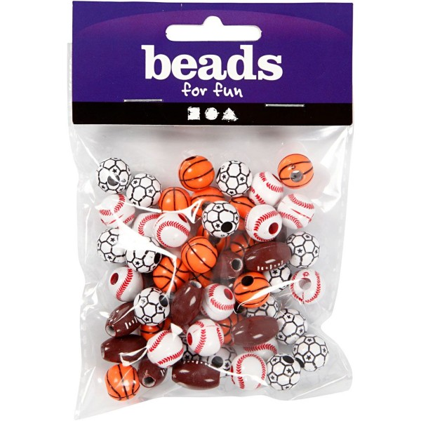 Assortiment de perles en plastique - Ballons - 11 à 15 mm - Environ 55 pcs - Photo n°2