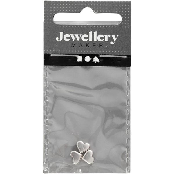 Perles coeur en métal argentées - 5,5 x 7 mm - 3 pcs - Photo n°2