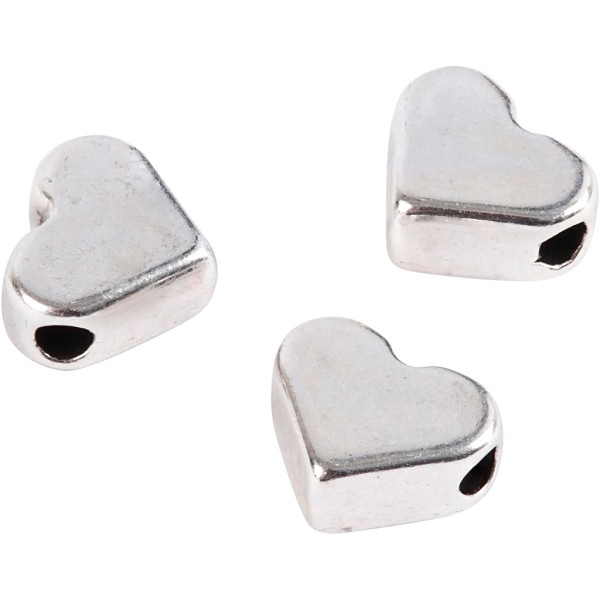 Perles coeur en métal argentées - 5,5 x 7 mm - 3 pcs - Photo n°1