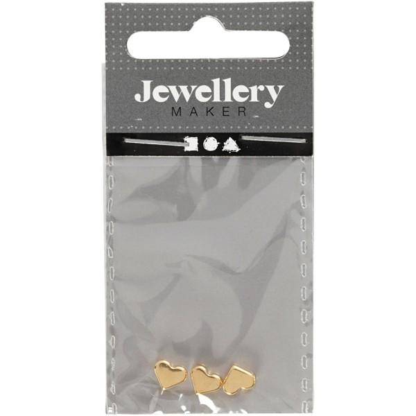 Perles coeur en métal dorées - 5,5 x 7 mm - 3 pcs - Photo n°2