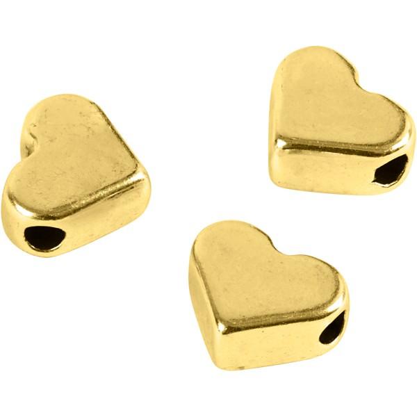 Perles coeur en métal dorées - 5,5 x 7 mm - 3 pcs - Photo n°1