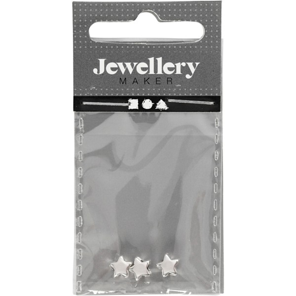 Perles étoile en métal argentées - 5,5 mm - 3 pcs - Photo n°2