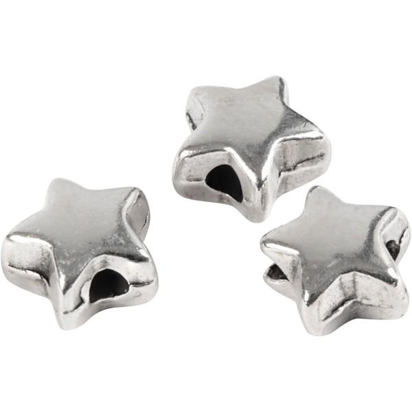 Perles étoile en métal argentées - 5,5 mm - 3 pcs - Photo n°1