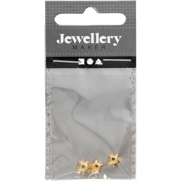 Perles étoile en métal dorées - 5,5 mm - 3 pcs - Photo n°2