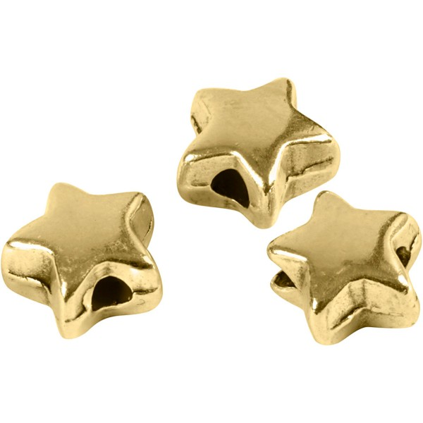 Perles étoile en métal dorées - 5,5 mm - 3 pcs - Photo n°1