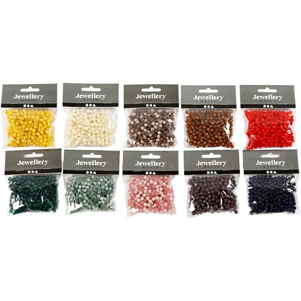 Perles en plastique - 6 mm - Couleurs assorties - environ 1500 pcs - Photo n°2