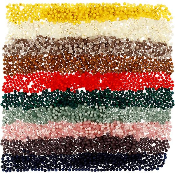 Perles en plastique - 6 mm - Couleurs assorties - environ 1500 pcs - Photo n°1