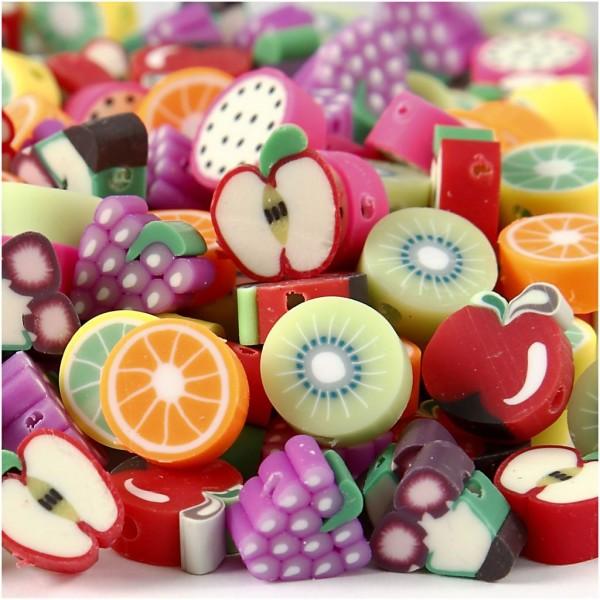 Perles fantaisie en pâte polymère - 10 mm - Fruits - Environ 200 pcs - Photo n°1