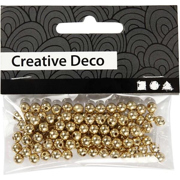 Perles de décoration 5 mm - Doré - 100 pcs - Photo n°2