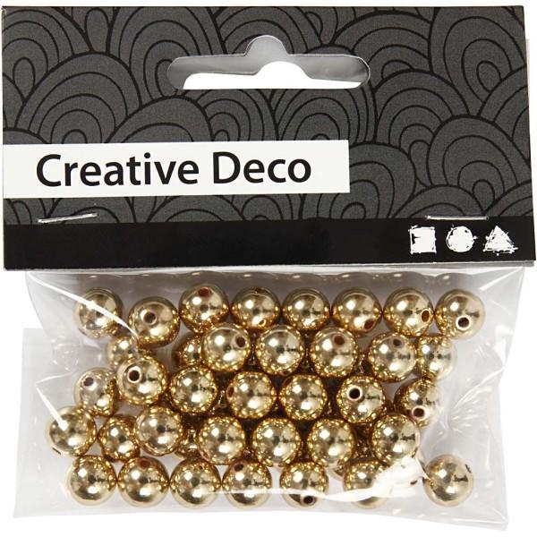 Perles de décoration 8 mm - Doré - 50 pcs - Photo n°2