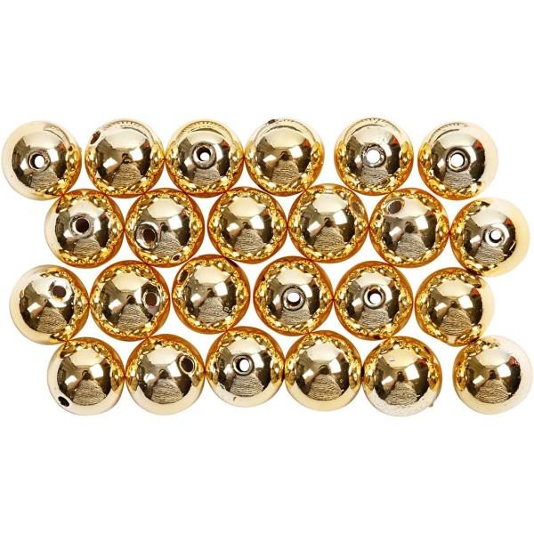 Perles de décoration 8 mm - Doré - 50 pcs - Photo n°1