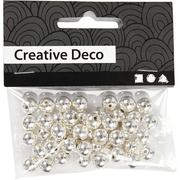 Perles de décoration 8 mm - Argenté - 50 pcs - Photo n°2