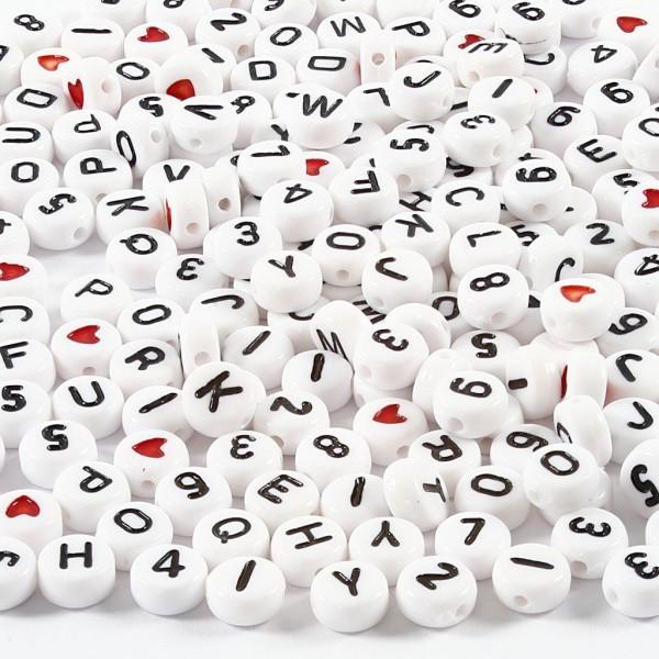 Perles alphabet et chiffres - 7 mm - Environ 1500 pcs - Photo n°1