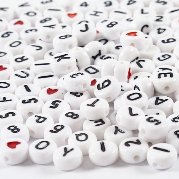 Perles alphabet et chiffres - 7 mm - Environ 200 pcs - Photo n°1