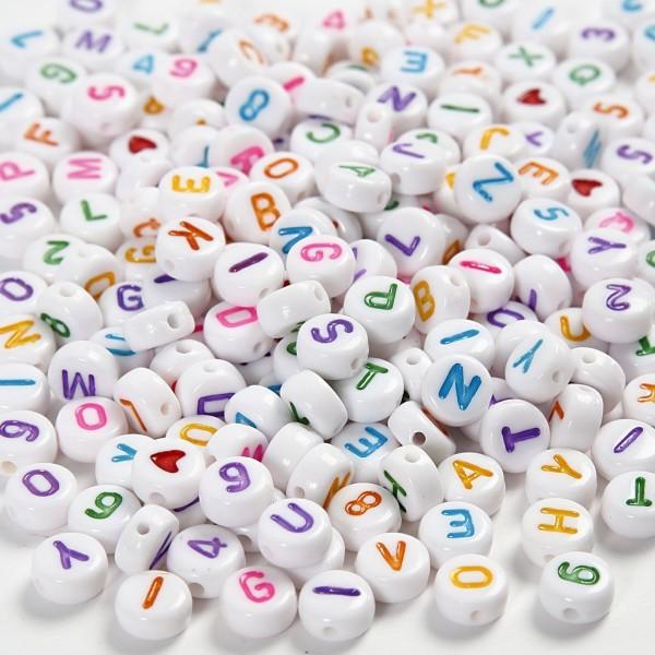 Perles alphabet et chiffres multicolores - 7 mm - Environ 1500 pcs - Photo n°1