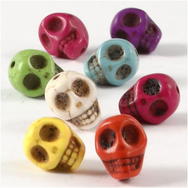 Assortiment de perles en plastique - Tête de mort - 12 mm - Environ 32 pcs - Photo n°1