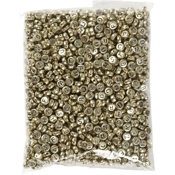 Perles alphabet et chiffres dorés - 7 mm - Environ 1500 pcs - Photo n°2