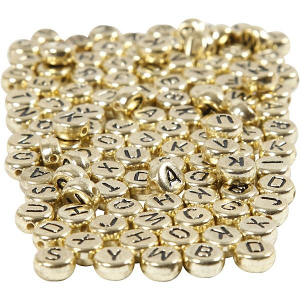 Perles alphabet et chiffres dorés - 7 mm - Environ 1500 pcs - Photo n°1
