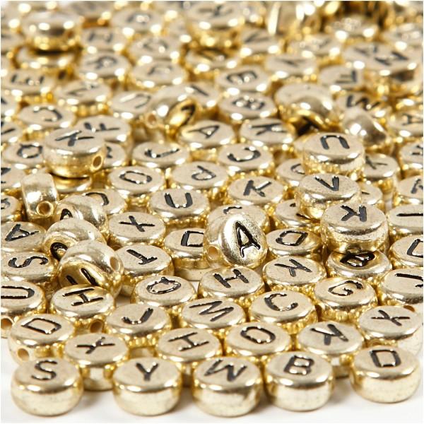 Perles alphabet rondes - Doré - 7 mm - env. 200 pcs - Photo n°1