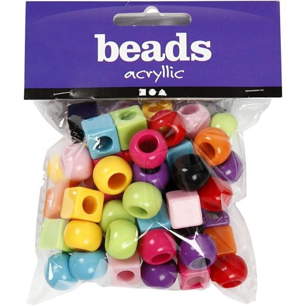 Assortiment de perles en plastique multicolore - Rondes et carrées - 11 mm - Environ 60 pcs - Photo n°2