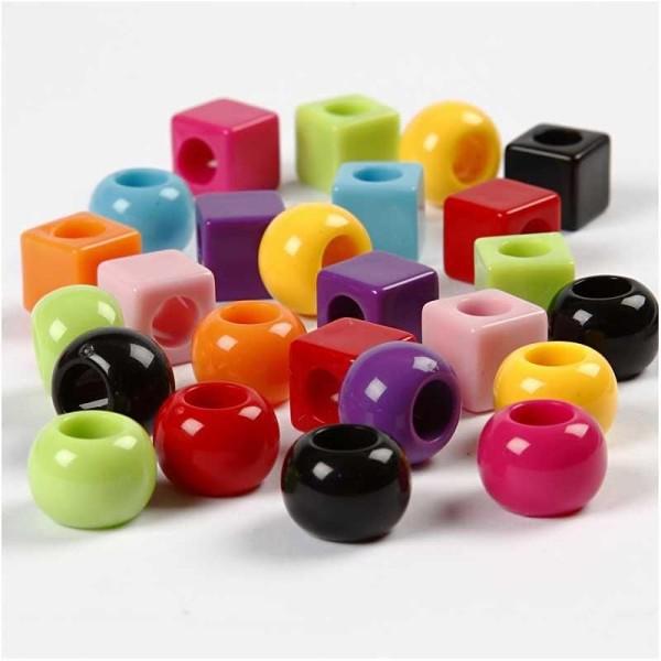 Assortiment de perles en plastique multicolore - Rondes et carrées - 11 mm - Environ 60 pcs - Photo n°1