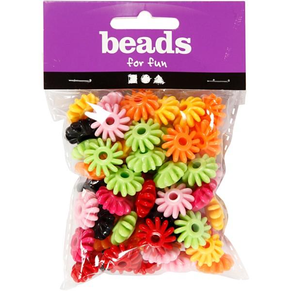 Assortiment de perles en plastique multicolore - Roues - 27 mm - Environ 70 pcs - Photo n°2
