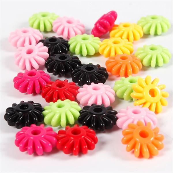 Assortiment de perles en plastique multicolore - Roues - 27 mm - Environ 70 pcs - Photo n°1
