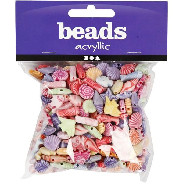 Assortiment de perles en plastique pastel - Poissons - 9 à 12 mm - Environ 380 pcs - Photo n°2