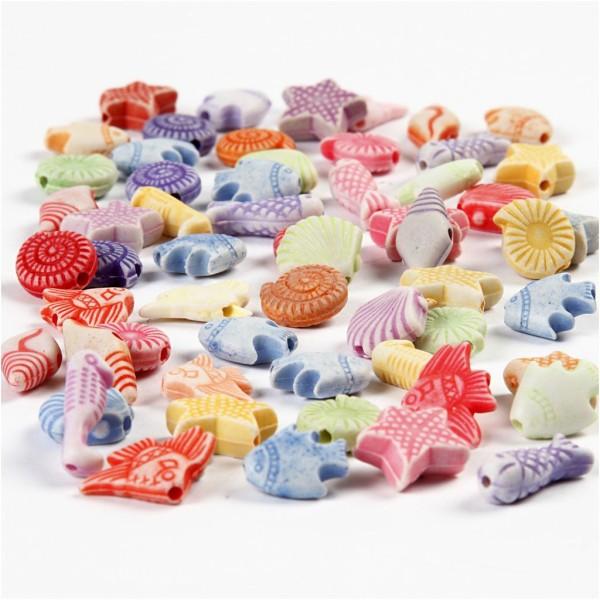 Assortiment de perles en plastique pastel - Poissons - 9 à 12 mm - Environ 380 pcs - Photo n°1