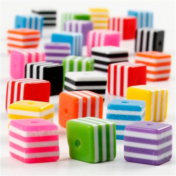 Assortiment de perles carrées 8 x 8 mm - Environ 950 pcs - Photo n°3