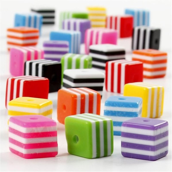 Assortiment de perles en plastique multicolore - Cubes rayés - 8 x 8 mm - Environ 135 pcs - Photo n°1