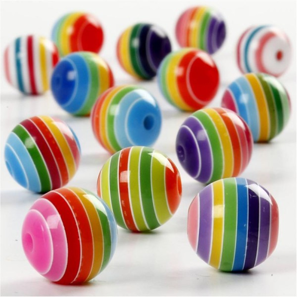 Assortiment de perles en plastique multicolore - Rayées - 12 mm - Environ 50 pcs - Photo n°1