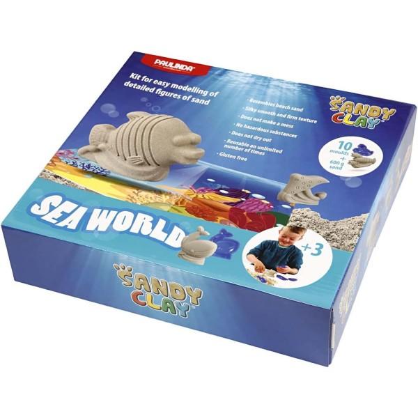 Kit sable à modeler Sandy clay - Animaux marins - 600 g - Photo n°2