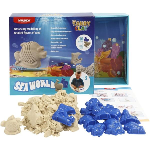 Kit sable à modeler Sandy clay - Animaux marins - 600 g - Photo n°1