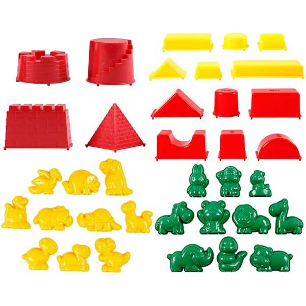 Moules Sable à modeler Sandy Clay - Animaux, dinosaures, château et formes géométriques - 36 pcs - Photo n°1